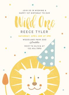 Wild One Customizable Childrens Birthday Party Invitations in Yellow by Lisa Cersovsky. - Invitatioin Card - Ideas of Invitatioin Card - Wild One Childrens Birthday Party Invitations Lion Birthday Party, Kids Birthday Themes, Boy First Birthday, Boy Birthday Parties, Birthday Design, 25 Birthday, Special Birthday, Birthday Quotes, 1st Birthday Invitations