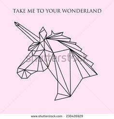 Vector color illustration with geometric unicorn head