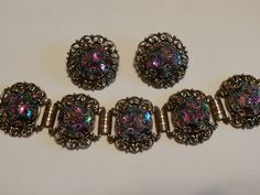 Vintage Judy Lee Watermelon Tourmaline Bracelet,Clip Earring,1950's Set by pasttimejewelry on Etsy