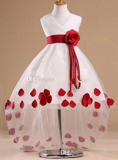 2015 Latest Desinger New Fashion Style Flower Girl Dresses V-neck Sleeveless High Low Rose Sash White Flower Girl Dress With Red Rose Petals