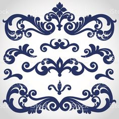 Seamless vector set of Victorian style ornament royalty-free stock vector art