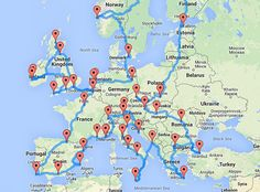 Ultimate European road trip - fastest route between all major cities.