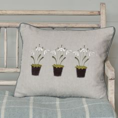 Each of our beautiful Snowdrop cushions are handmade by our talented artisans using a mix of free-hand embroidery and applique on to a light linen fabric. Includes a feather cushion pad. Diy Cushion, Cushion Pads, Cushion Covers, Cushion Ideas, Cushion Embroidery, Embroidered Cushions, Hand Embroidery, Susie Watson, Kilim Cushions
