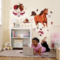 horse wall stickers for bedroom | Girls Horse Bedroom Ideas: Horse Themed Bedding & Bedroom Decor