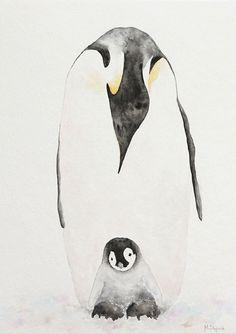 Penguin Watercolor, Penguin Drawing, Watercolor Paintings Of Animals, Penguin Art, Watercolor Bookmarks, Animal Paintings, Watercolor Paper, Original Paintings, Traditional Tattoo Art