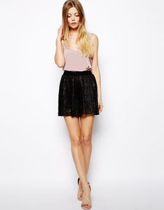 $52, Black Lace Shorts: Asos Culotte Shorts In Pleated Lace. Sold by Asos. Click for more info: https://lookastic.com/women/shop_items/136565/redirect