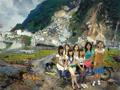 "Liu Xiaodong, ""Out of Beichuan"", 2010.  Oil on canvas,  118 x 157 1/2 in. This painting is comprised of a group of females congregated around a dilapidated bicycle, against the harsh background of collapsed buildings and uneven mountains.  The scene depicts the aftermath of an earthquake in 2008 in Beichaun, China. Why is it important to document these memories?  How do memories affect our lives today?"