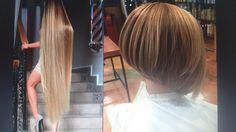 Leona new short haircut Inverted Bob Haircuts, New Short Haircuts, Hairstyles Haircuts, Long To Short Hair, Long Hair Cuts, Short Hair Styles, Before And After Haircut, Rapunzel Hair, Shiny Hair