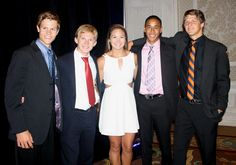 Orlando Area Rowing Society members and recent high school graduates will continue rowing in college. Pictured are (l. to r.) Alex Harding, Harvard University; Patrick Hansen, Harvard University; Allison Zimmerman, University of Louisville; Justin Figueroa, Jacksonville University; and Brandon Montague, Washington College.