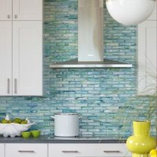 Self Adhesive Glass Tile Backsplash Beach Style Style For Kitchen With Back  Splash By Rachel Reider Interiors In Boston   : Kitchen Design Ideas