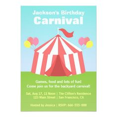 Kids Birthday Party - Happy Backyard Carnival Card