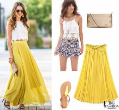 Summer outfit yellow skirt white top