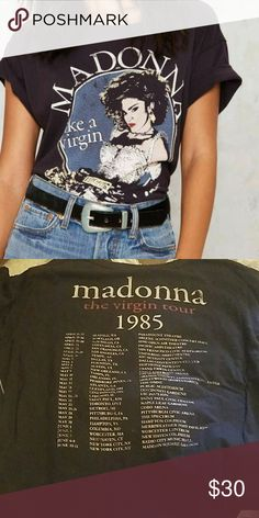 Madonna Virgin Tour Black rolled sleeves. Side stitching detail. Trunk Ltd Tops Tees - Short Sleeve