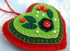 Felt Christmas ornament.Red & Green heart decoration,handmade christmas ornament, embroidered felt heart ornament,christmas tree decoration