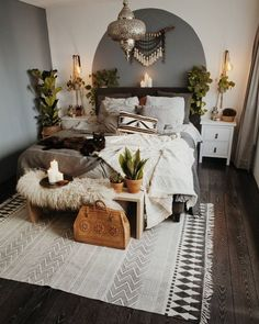 46 Awesome Apartment Bedroom Decor Ideas - Home - Apartment Decor Trendy Bedroom, Cozy Bedroom, Bedroom Rustic, Bedroom Inspo, Winter Bedroom, Bedroom Neutral, Rustic Room, Modern Bedroom, Young Adult Bedroom