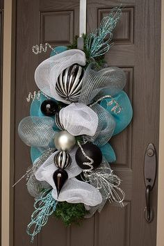 Deco Mesh Wreath Alternative; floral picks and bulb ornaments