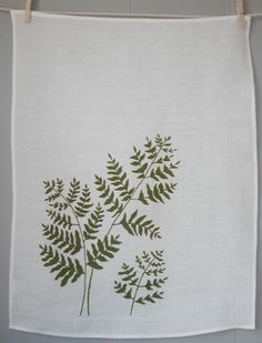 Organic Linen Tea Towel- Hand Screen Printed with Fern Design in Moss Green. $18.00, via Etsy.