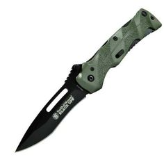 Smith  Wesson SWBLOP2G Black Ops 2 Assisted Open Knife Coated Stainless Steel Blade Black Blade Green Handle ** Click image for more details.(This is an Amazon affiliate link and I receive a commission for the sales)