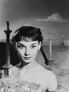 Audrey Hepburn photographed by Angus McBean for first publication of advertisement for Crookes' Lacto-Calamine sun-lotion. Vogue UK, October 1950.