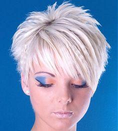 short blonde straight spikey choppy coloured Layered platinum matt-look hairstyles for women