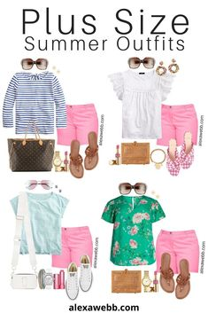 Four plus size pink shorts outfit ideas with preppy stripes, frilly sleeves, a sporty tee, and a floral top. So many combinations! Curvy Girl Outfits, Short Outfits, Summer Outfits, Cute Outfits, Summer Shorts, Plus Size Summer Outfit, Plus Size Outfits, Coral Shorts, Plus Sized Outfits