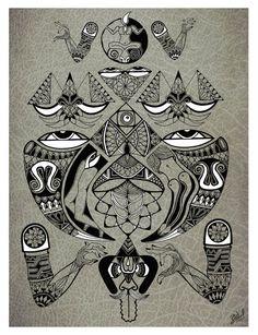 Shaman Visiona art Ayahuasca art Native american art Shaman