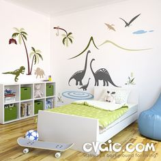 Dinosaur Wall Decals – Dinosaurs By The Lake Scene – evgie