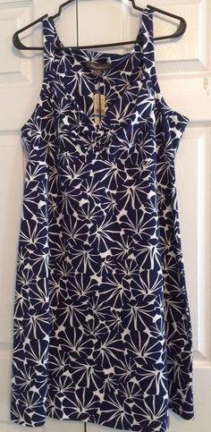 "Tommy Bahama Women's Sun Dress,""Hibiscus Grove Dress"", Navy Blue, White, XL, NWT #TommyBahama #Sundress #Casual"