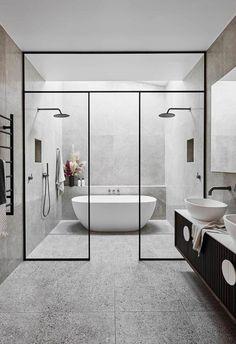 The Block& Alisa and Lysandra are renovating a historic home - - .- Die Block's Alisa und Lysandra renovieren ein historisches Haus – – The Block& Alisa and Lysandra are renovating a … - Modern Master Bathroom, Modern Bathroom Design, Bathroom Interior Design, Small Bathroom, Wet Room Bathroom, Bath Room, Bathroom Showers, Modern Bathtub, Bathroom Designs