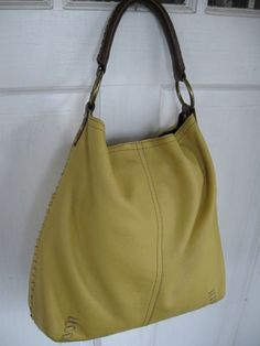 Lucky brand leather shopper hobo tote yellow mustard shoulder bag purse