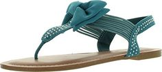 Pierre Dumas Womens Roxy3 Bow SandalTurquoise Suede7 -- Want additional info? Click on the image.