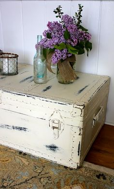 Poster used chalk paint; painted directly over rusty hardware too (My Passion For Decor: Neglected Steamer Trunk Makeover)