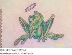 frog tattoo designs | tattoo design picture by Lucky Draw Tattoos: animal,frog,green,halo