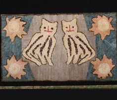 STEPHEN SCORE ANTIQUES | Boston MA | Antiques | American folk Whimsical Cat Spirits Hooked Rug  About 1920 -30; Dimension: 19 1/2 x 32 1/2 inches