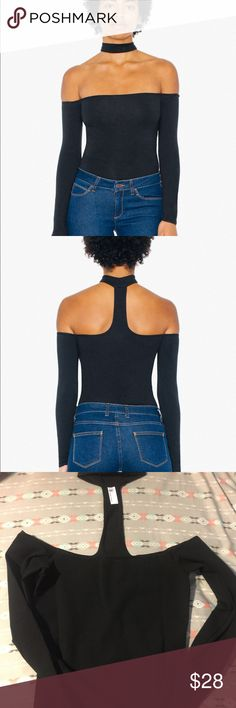 """American Apparel Mid-Length Chocker Top Brand New! An off-the-shoulder top with back cutouts and a choker neckline. It has long sleeves and hits at the hip.   • Cotton Spandex Jersey (95% Cotton / 5% Elastane) construction  Model is 5'7"""" and wearing a size S. American Apparel Tops"""