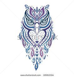 Decorative Owl. Tribal pattern. Ethnic tattoo. Vector illustration.