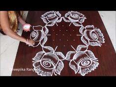 simple and easy rangoli 11 * 6 dots kolam chukkala muggulu latest kolams very easy rangoli Rangoli Designs With Dots, Rangoli With Dots, Beautiful Rangoli Designs, Kolam Designs, Indian Rangoli, Diwali Rangoli, Rangoli Simple, Rangoli Patterns, Flower Rangoli