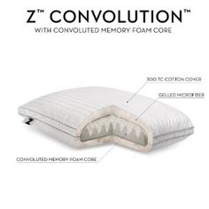 Z by Malouf Convolution Gelled Microfiber with Convoluted Memory Foam Pillow, Standard Fine Linens, Girly Things, Memory Foam, Bed Pillows, Pillow Cases, Sleep, Cover, Cotton, King
