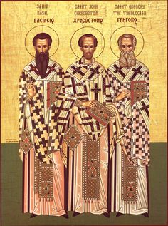 Synaxis of the Three Hierarchs; January The three hierarchs = Basil the Great, Gregory the Theologian, and John Chrysostom. All three men are fathers of the church; they are highly revered in the Orthodox Church and symbolize Orthodoxy. Christian Faith, Christian Quotes, Christian Living, Early Church Fathers, Saint Gregory, John Chrysostom, St Jerome, Saint Quotes, Father Quotes