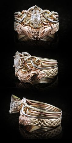 Celtic puzzle engagement ring with Celtic claddagh shadow band in 14K yellow and rose gold
