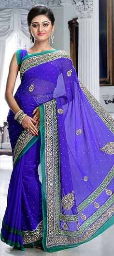 166150 Blue  color family Bridal Wedding Sarees in Chiffon fabric with Cut Dana, Lace, Stone work   with matching unstitched blouse.