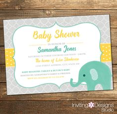 Elephant Baby Shower Invitation, Watercolor, Gender Neutral, Mint, Mint Green, Yellow, Neutral Baby Shower (PRINTABLE FILE) by InvitingDesignStudio on Etsy