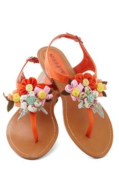 Appealing to my crafty side Crafty Afternoon Sandal - Orange, Multi, Flower, Flat, Low, Faux Leather, Casual, Handmade & DIY, Summer, Variation