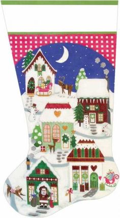 melissa shirley designs hand painted needlepoint christmas village stocking - Needlepoint Christmas Stocking Canvas
