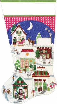 Melissa Shirley Designs | Hand Painted Needlepoint | Christmas Village Stocking
