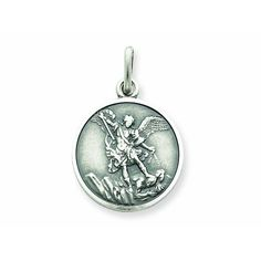 """Sterling Silver St. Michael the Archangel Pendant with 24"""" Stainless Silver Heavy Curb Chain. Patron Saint of Police Officers/EMTs"""