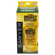 Permethrin is a contact pesticide that kills black flies, ticks, and mosquitoes on contact but has no harmful side effects on humans if used properly. It is the active ingredient used in Buzz Off and Insect Shield clothing sold by Ex Officio and kills bugs when they land on your clothing by overloading their nervous system. You can buy Permethrin in liquid form and spray it on your own clothes to the same effect.