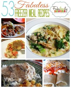 53 easy Freezer Meal Recipes to fill your freezer and your stomach!  http://fabulesslyfrugal.com/53-freezer-meal-recipes/