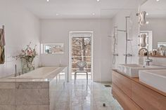 Wooden Bathroom Vanity With Double White Sink And Stainless Faucet White Bathtub Tile White Chair Corner Glass Shower Mirror Bathroom: Comfy contemporary Villa near Stockholm Gathering Lake Views