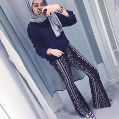 Bohemian palazzo pants with hijab- The most trending hijab items – Just Trendy Girls Hijab Casual, Hijab Chic, Retro Fashion, Trendy Fashion, Boho Fashion, Girl Hijab, Hijab Outfit, Boho Outfits, Fashion Outfits